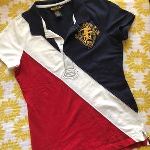 Red white blue Ralph lauren rugby pique polo shirt